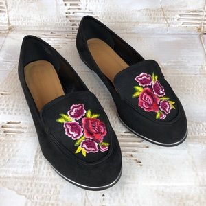 New Asos floral embroidered loafers black wide